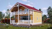 Каркасный Дом 8.6х9.5 м из бруса по проекту Ванкувер